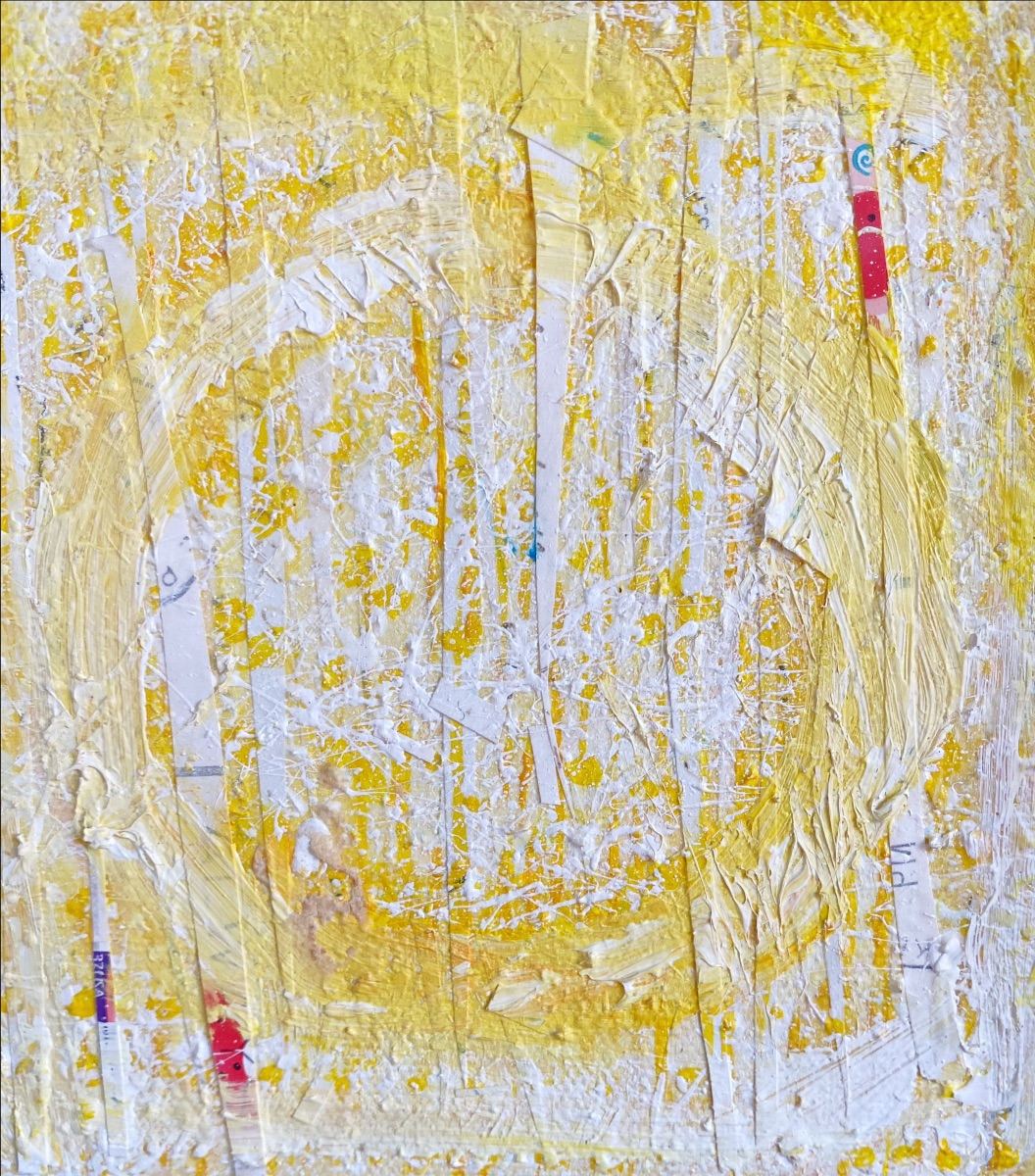 mixed-media art piece with acrylic yellow paint and vertical strips of white paper glued on the canvas for added texture.