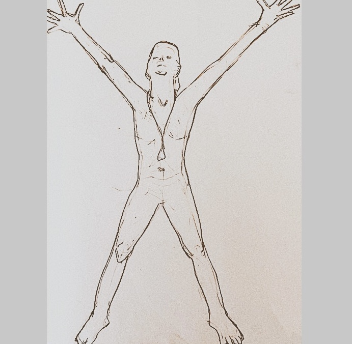 pencil sketching of a man with outstretched arms and legs symbolic of a victorious posture